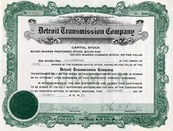 Detroit Transmission Company - Detroit, Michigan 1919