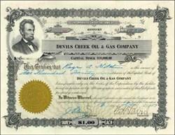 Devils Creek Oil & Gas Company 1917 - Abe Lincoln Vignette