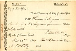 City of New York Check signed by DeWitt Clinton as Mayor - 1814