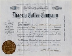 Digesto Coffee Company - New York 1904