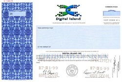 Digital Island ( Acquired by Cable and Wireless ) RARE Specimen Certificate - Delaware 1999