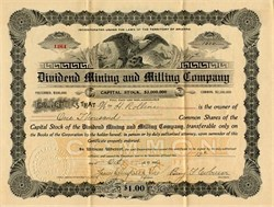 Dividend Mining and Milling Company - Territory of Arizona - 1906