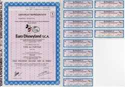 Euro Disneyland Certificate (Now Disneyland Paris)  - 1983
