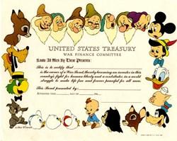 Disney War Bond ( Multi Colored Disney Characters ) watermark - 1944