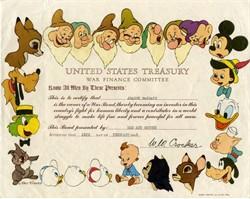 Disney War Bond  signed by W. W. Crocker- Multi Colored Disney Characters - (eagle shield watermark) - California 1945