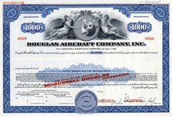 Douglas Aircraft Company, Inc. with Donald W. Douglas, Jr. as President  (Became McDonnell Douglas) $1000 Bond - 1966