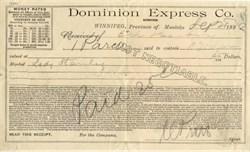 Dominion Express Co.- Winnipeg, Province of Manitoba 1888