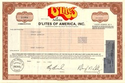 D'Lites of America (Healthy Fast Food Restaurant )- Georgia 1987