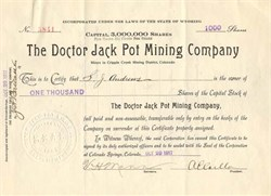 Doctor Jack Pot Mining Company - Raven Hill, Cripple Creek Colorado 1917