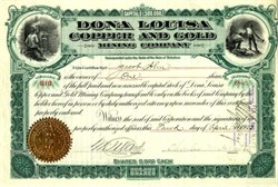 Dona Louisa Copper and Gold Mining Company - Delaware 1903