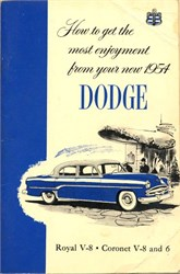 Dodge Manual  (Dodge Royal V-8, and the Coronet V-8 and 6)- Michigan 1954
