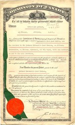 Dominion of Canada Patent of Automobile Steering Tire Lock Cables - Canada 1921