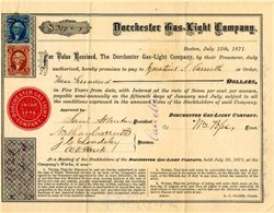 Dorchester Gas Light Company (Early Keyspan Company) signed by Nathan Carruth - Boston, Mass. 1871