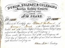 Dublin, Belfast & Coleraine -  Old Jewry Chambers, London - 1846
