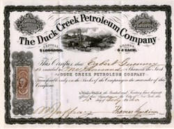 Duck Creek Petroleum Company (Issued 2 months before the end of the Civil War) New York - February 1865
