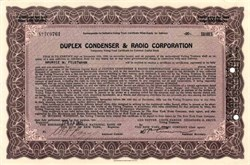 Duplex Condenser and Radio Corporation - 1925