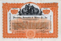 Duesenberg Automobile & Motors Company, Inc. Stock Certificate - 1924