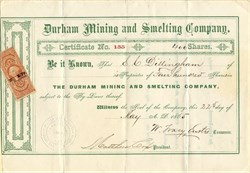 Durham Mining and Smelting Company - Township of Durham, County of Drummond, District of Arthabaska in the Province of Canada - 1865