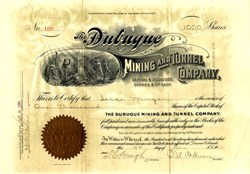 Dubuque Mining and Tunnel Company signed by Cripple Creek Gold Baron and Colburn Automobile Founder,  Judge Ernest A. Colburn - Idaho Springs, Clear Creek County, Colorado 1905
