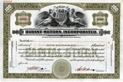 Durant Motors, Incorporated RARE Specimen Stock Certificate - 1935
