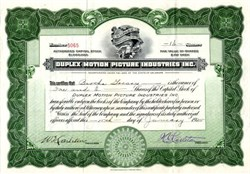 Duplex Motion Picture Industries, Inc. - Delaware 1925