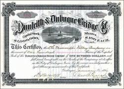 Dunleith & Dubuque Bridge Company 1890's signed by Stuyvesant Fish