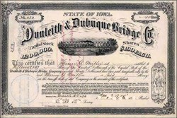 Dunleith & Dubuque Bridge Company 1873 - Train on Bridge Vignette
