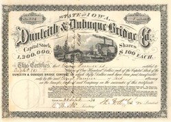 Dunleith & Dubuque Bridge Company  -  Iowa 1874