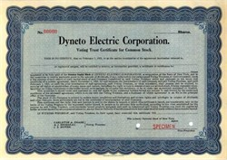 Dyneto Electric Corporation 1918 - ( Early Automobile Systems Company )