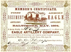 Eagle Artillery Company Member's Certificate - Maryland 1855
