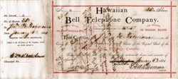 Hawaiian Bell Telephone Stock Certificate #6 - Honolulu, Kingdom of Hawaii 1881