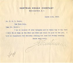 Eastman Kodak Company signed letter by George Eastman - New York 1912