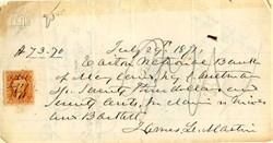 Easton National Bank Check - 1871