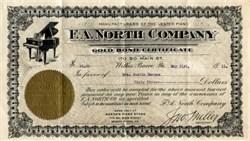F. A. North Company ($50 Gold Bond Certificate)  Lester Piano Vignette - Wilkes Barre, Pennsylvania 1911