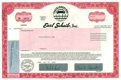 Earl Scheib, Inc - Famous Car Paint Company Stock Certificate