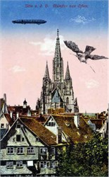 Early Zeppelin Litho Postcard flying over Germany