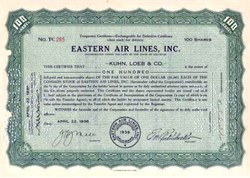 Eastern Air Lines First Stock Certificate 1939 - Eddie Rickenbacker as President