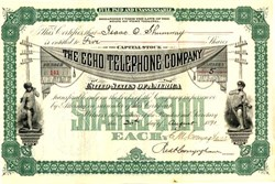 Echo Telephone Company (two cherubs talking on an early telephone )-  1891