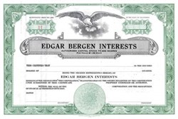Edgar Bergan Interests Stock Certificate plus Signed Check