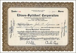 Edison - Splitdorf Corporation 1932 - Charles Edison as President