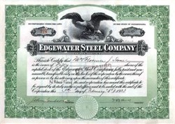Edgewater Steel Company  - Pennsylvania 1925