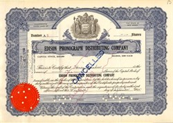 Edison Phonograph Distributing Company signed by Charles Edison - New Jersey 1925