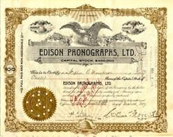 Edison Phongraphs, Ltd. - New Jersey 1917