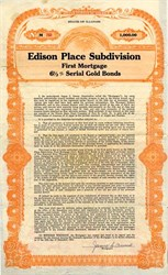 Edison Place Subdivision First Mortgage Gold Bond - Madison County, Illinois 1931
