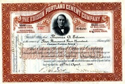 Edison Portland Cement Company issued to Thomas A. Edison - 1906