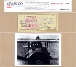 Eddie Rickenbacker Check (Authenticated by Pass-Co) - 1970