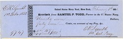 Edward Robinson Squibb handsigned Check (Bristol-Myers Squibb )  - New York 1853