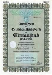 Anteilschein der Deutschen Reichsbank über eintausend Reichsmark Uncancelled Nazi War Bond - Berlin, Germany 1939