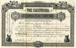 Electrical Accumulator Company (Early Battery Company)  signed by Theodore N. Vail - New York 1887