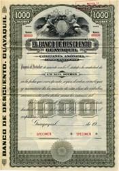 El Banco De Descuento Guayaquil - Ecuador 1920